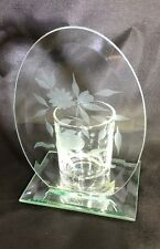 "Clear Glass Etched Candle Holder Mirror Base 5.75"" Tall Home Decor"