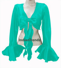 Satin Belly Dance Tie Top Wrap Choli Gypsy Haut Orientale Danse Blouse Ruffle NW
