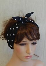 Rockabilly Black and White Pin Up Headband Polka Dot Head Wrap Retro 50's Hair