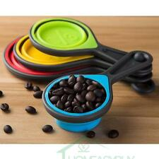 4 pcs/set Food Grade Silicone Collapsible Folding Measuring Cup and Spoon