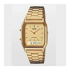CASIO GOLD TONE DUAL TIME ANA DIGI CLASSIC MEN'S WATCH AQ230G-9D