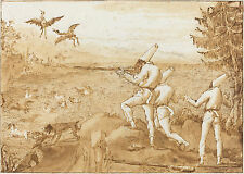 G.B. Tiepolo Reproduction: Punchinellos Hunting Waterfowl  - Fine Art Print