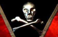 MYSTIC SKULL BONES! SWORDS! Antique KNIGHTS TEMPLAR APRON! Masonic 1870s SILVER