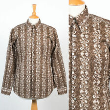 MENS VINTAGE 70'S SEVENTIES SHIRT BROWN RETRO PATTERN BUTTON DOWN COLLAR MOD S
