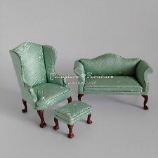 1:12 Dollhouse Miniature Furniture Diamond Striped Couch/Sofa Set Light Green