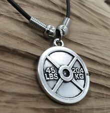 45 LBS Weight Plate Crossfit  20.4 KG  Plate Charm Necklace  17 inch