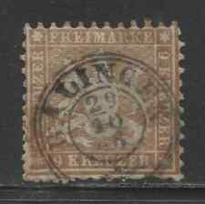 1863 German States WURTTEMBERG  9 Kreuzer Cote of Arms  used, € 65.00
