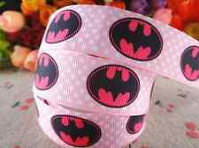 "1m BATMAN PINK CHARACTER GROSGRAIN RIBBON 1"" 25mm HAIR BOW CAKE RIBBON"
