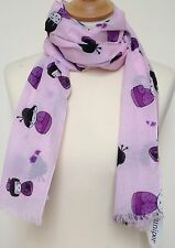 NEW 100% COTTON WOMEN'S PURPLE JAPANESE KOKESHI DOLLS ON PINK BACKGROUND SCARF