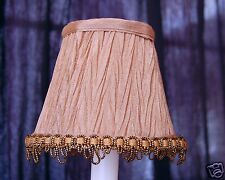 Set of 2 Light Brown with Fancy Trim Chandelier Clip on mini Shades