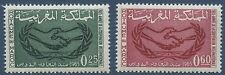 MAROC 1965 N°486/487** coopération internationale, mains, Morocco hands MNH