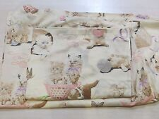 Vtg Sears Kitten Pussy Cat Full Size Sheets 2 Pc Set Flat/ Fitted Bedding