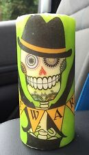 Hand Decorated/Decoupage DAY OF THE DEAD SUGAR SKULL HALLOWEEN PILLAR CANDLE (T)