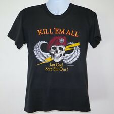 VINTAGE ORIGINAL TEE SHIRT US ARMY RED BERET KILL EM ALL 1980s BLK 50/50 SMALL