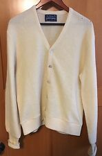 Vintage 60s ARNOLD PALMER Mens Fuzzy Wool Blend Cardigan Sweater Lg OffWhite