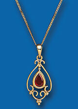 "9ct Gold Real Garnet Victorian Style Pendant With 18"" Chain UK Made Hallmarked"