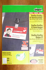 SIGEL 50 x OneDay OneWay 3C Name Badges incl 50 Clips  50x75mm    ZB222   NEW