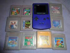 Nintendo Game Boy Color Indigo Purple 10 Games lot! Works! Pokemon and More!