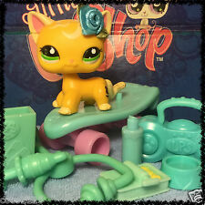 Littlest Pet Shop 2194 Yellow Short Hair Cat Green Eyes w/ Accessories BLEMISHED