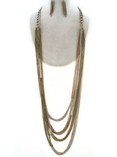 Rustic Chains Tri Tone Antique Gold Silver Brass Link Long Chunky Necklace Set