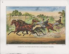"1972 Vintage Currier & Ives TROTTERS ""G. PATCHEN, BROWN DICK, MILLER'S DAMSEL"""