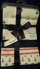 ⛵NEW 4 PACK LUVABLE FRIENDS BABY BOY'S ANCHOR SAILOR RECEIVING BLANKETS ⛵