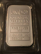 1 oz Johnson Matthey Silver Bar .999 Fine Silver in sealed plastic