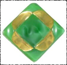 Vintage Green Glass Moonglow Button - Square with Gold Luster