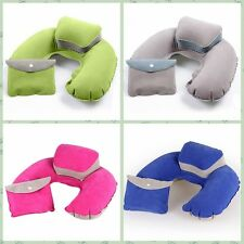 Inflatable Travel PIllow Air Cushion Neck Rest Compact Easy Storage With Pouch
