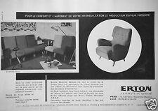 PUBLICITÉ 1957 ERTON ENSEMBLE NOTY SALONS FAUTEUILS CANAPÉS-LITS