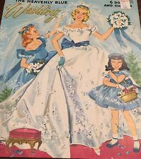 Vintage Merrill #2580 HEAVENLY BLUE WEDDING paper dolls 1955 cut & uncut Folder
