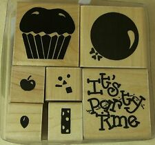 Set 7 Rubber Stamps IT'S PARTY TIME S302 D.O.T.S.JRL Design Balloon Candle Cake