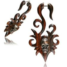 "PAIR 18G SONO WOOD FAUX FAKE CHEATER PLUGS LONG SKULL 2"" 3/4 INCH GAUGES TALONS"