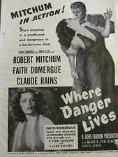 Where Danger Lives, Robert Mitchum, Full Page Vintage Promotional Ad