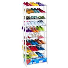 10 Tiers 30 Pair Space Saving Storage Organizer Free Standing Shoe Tower Rack