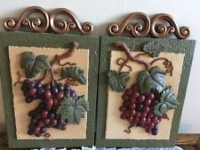 VINTAGE HOME INTERIORS SET OF TWO LG. 3D DECORATIVE WALL HANGINGS BY GIA, INC.