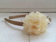 Gold Satin Hairband Headband Alice Band Ivory Flower Bridesmaid Flower Girl