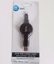 Onn Sync & Charge MFi Retractable Cable for Lightning Devices iPhone iPod iPads