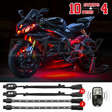 10 Pod 4 Strip LED Remote Control Motorcycle Automoblie Boat Light Kit  - RED