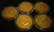 LOT OF 5 *24 KT GOLD PLATED KENNEDY HALF DOLLAR* COIN SET -- AIRTIGHT CAPSULE