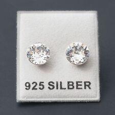NUOVO Argento 925 Orecchini a bottone 8mm swarovski pietre in Crystal/Cristallo chiaro Orecchini
