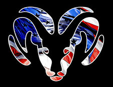 2-Dodge Ram Head Hemi Flag Racing Vinyl Decal Window Sticker Car Truck Graphic