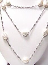 Fine 48 Inch Natural Pearl Baroque String Necklace 14k White Gold