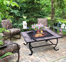 Outdoor Patio Backyard Metal Square Stove BBQ Fire pit Firepit