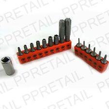 16Pc TORX BIT SET Inc Drive Adaptor - Security Tamperproof T10-T50 Star T5-T9