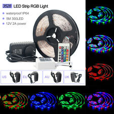 5M 3528 300LEDS RGB Led strip Light Waterproof SMD+24Key IR remote 12V 2A Power