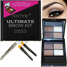 Technic Ultimate Brow Kit Powders Wax Tweezers & Brush Eyebrow Make Up Set Eyes