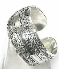 Hot New Tibetan Tibet Silver Totem Scroll Embossed Bangle Cuff Bracelet Adjusts