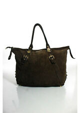 MIU MIU Brown Suede Gold Tone Buckle Detail Double Strap Tote Handbag