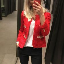 ZARA RED COTTON TWEED JACKET WITH DETAIL POCKETS SS16 SIZES XS, S & M